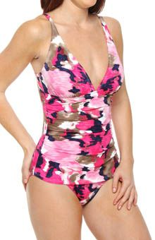 Meridian V Neck Shirred One Piece Swimsuit