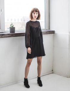 """""""Holly"""" mousseline and lace dress black Haute Couture Dresses, Folk Fashion, Jolie Photo, Lace Dress Black, Lace Insert, Crepe Dress, Clothes Horse, Vegan Friendly, Blouse"""