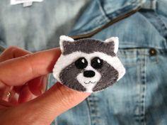 Raccoon brooch felt brooch kawaii raccoon by IbelieveIcanfil