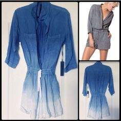 Young Broke & Fabulous ombré romper Awesome YB&F timber in ombré denim...two slash pockets on hips, two chest pockets, 3/4 length sleeves...elastic waist with drawstring ties! Bought NWT on Posh...never worn too small for me! Young Fabulous & Broke Other