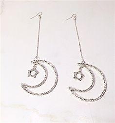 Take me to the moon & stars drop earrings # earrings # fashion # jewelry # moon