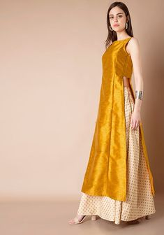 How pretty is this mustard side slit kurta lehenga by Vasansi Jaipur #Frugal2Fab