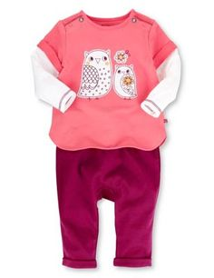 570f05947b7 Buy the 2 Piece Cotton Rich Owl Tunic & Leggings Outfit from Marks and  Spencer's range.