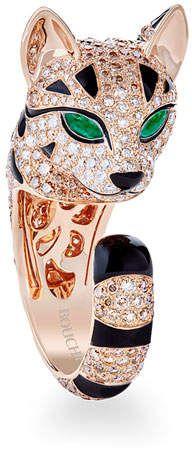 Boucheron 18k Diamond Lion Cub Ring, Size 52