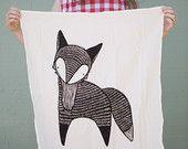 Fox Tea Towel, Printed with Eco Friendly Inks