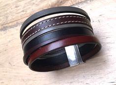 Bracelet manchette en cuir pour homme : Bijoux pour hommes par ristmik