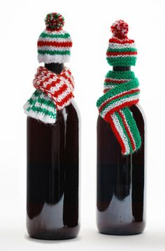 Knit Wine Bottle Hats. Category 2 Sport Weight (BonBons Jingle Bells); Size 4 Straight Needles