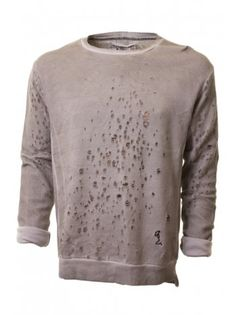 Religion Clothing Top Roberto Wash Holes Pullover In Light Grey