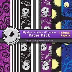 nightmare-before-christmas digital paper pack...free! ishareprintables.com