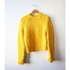 Choies Neon Yellow Long Sleeve Cable Sweater ($33) ❤ liked on ...
