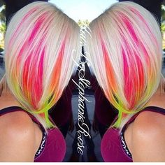 mermaid hair technique - this works under the main(natural) hair color, peeking out never fully revealing. Blonde with neon pink, orange, yellow, and green. Bright Hair Colors, New Hair Colors, Cool Hair Color, Hair Colorful, Neon Hair, Pink Hair, Pink Peekaboo Hair, Peekaboo Highlights, Violet Hair