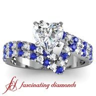 Heart Shaped Diamond and Blue Sapphire Engagement Ring   #rings . www.finditforweddings and  www.facebook.com/FIND.IT.For.Weddings