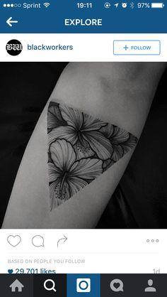 Black ink. Flowers tattoo Triangle tattoo Summer Pretty tattoo.
