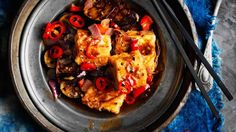 This spicy tofu and eggplant dish can be eaten as a main, or as part of a banquet. Sichuan peppercorns add a tongue-tingling heat. Veg Recipes, Indian Food Recipes, Asian Recipes, Savoury Recipes, Okara Recipes, Recipies, Dinner Recipes, Asian Cooking, Vegetarian Cooking