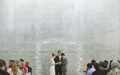 A chalk-art wedding full of fun details including this substitute for a canopy.