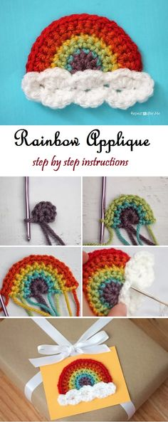 Rainbow Applique Step by Step Instructions - Design Peak Crochet Applique Patterns Free, Crochet Flower Patterns, Crochet Motif, Crochet Appliques, Applique Designs, Embroidery Designs, Crochet Elephant, Crochet Unicorn, Crochet Bunny