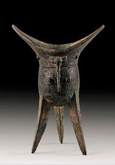 A bronze ewer, Jiao - China, Shang Dinasty Century B. Bronze, Oriental People, Yi King, China Art, Chinese Ceramics, Ancient China, Ancient Artifacts, Chinese Culture, Chinese Antiques