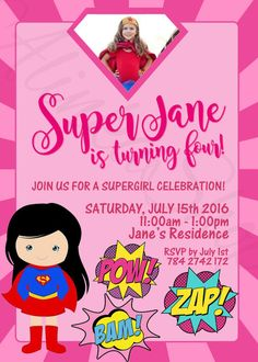 supergirl party invitations/ DC SuperGirl Birthday by AlinkaShop