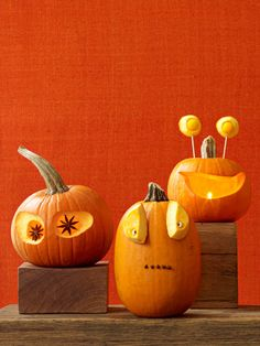 Pumpkins with Personality..  Don't be spooked by these clever creations—they come together in minutes with just a few pantry basics.      Read more: Funny Pumpkin Carving Ideas - Jack o Lanterns - Woman's Day