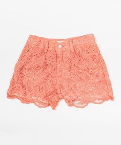 Take a look at the Trish Scully Child Coral Floral Embroidered Shorts - Toddler & Girls on #zulily today!