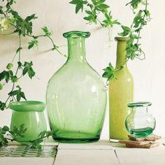 Green vintage shaped glass jars, pots, bottles and vases from West Elm Antique Glass Bottles, Vintage Bottles, Glass Jars, Antique Glassware, Green Art, Green Colors, Pots, Bottles And Jars, Small Bottles