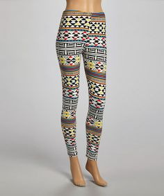 Another great find on #zulily! Black & Yellow Geo Leggings #zulilyfinds