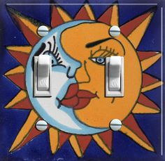 """""""Sun and Moon"""" Talavera tile switch plate by ArtistSwitchPlates"""