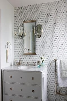 Attractive Sunflower Carrara Thassos Tile, Transitional, Bathroom, Sarah Richardson  Design Stunning Bathroom With White Bathroom Vanity With Marble Top, Mirror  Flanked ...