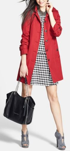 Houndstooth & a pop of red