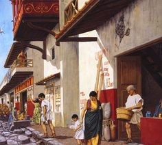 Peter Connolly's book Pompeii has beautiful reconstructions of street scenes and interiors.