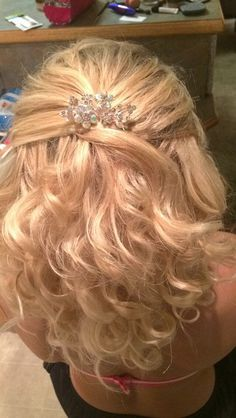 Prom hair medium length, half up half down with strapless dress