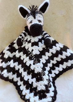(4) Name: 'Crocheting : Zebra Huggy Lovey Blanket
