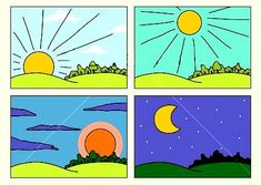 Parts Of The Day Morning Afternoon Evening Night&hellip Clipart Preschool Learning Activities, Preschool Activities, Teaching Kids, Kids Learning, Teach English To Kids, Teaching English, Morning Noon And Night, Evening Pictures, Vip Kid