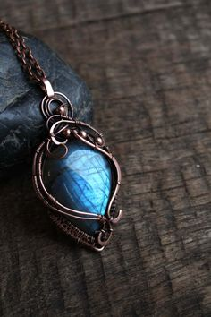 Wire wrapped jewelry Labradorite pendant Copper jewelry  Wire wrapped copper pendant necklace is bright and beautiful. It features a stunning Labradorite . Copper is oxidized for a rustic look, and polished. lacquered. The dimensions of gemstone pendant: size 5.5*3 cm,