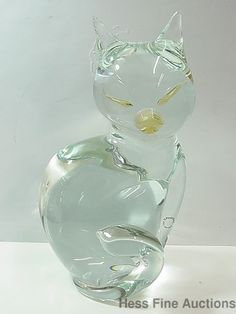 Huge Signed V Nason Murano Italian Art Glass Cat Sculpture Figure Cat Statue