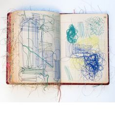 Sharon Etgar sewing books=sewing on paper Textiles Sketchbook, Artist Sketchbook, Fabric Journals, Art Journals, Libros Pop-up, Motifs Textiles, Stitch Book, Thread Art, Paper Embroidery