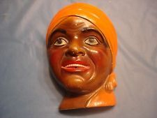Vintage Black Americana Plaster Art Pottery Mammy Head String Holder
