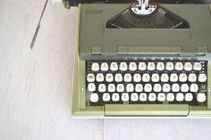 Sears Newport Manual Typewriter Vintage 1960s Avocado Olive Green Carrying Case White Keys by VintageandMain
