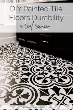Wondering about painted tile durability? Do you want to know how well painted tiles hold up? We put our DIY painted tiles to the test for you. Diy Flooring, Stenciled Tile Floor, Porch And Patio Paint, Tile Floor, Bathroom Floor Tiles, Painted Patio, Flooring, Painting Tile Floors, Tile Floor Diy
