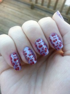 Angel's Nails ~ lilac with red stamp