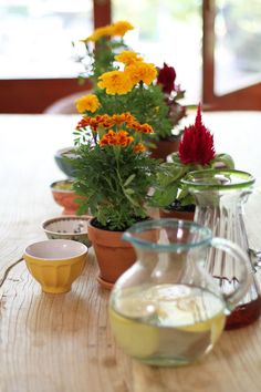 lovely flowers, bowls and pitchers....
