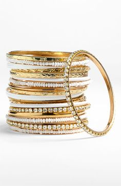 white and gold bangles