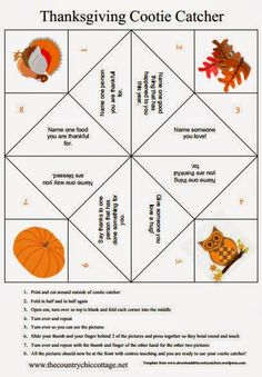 Thanksgiving is almost here and my Thanksgiving cootie catcher is a fun way to share the holidays with your kids. This great free printable cootie catcher encourages kids to share what they are thankful for Thanksgiving Crafts For Toddlers, Thanksgiving Crafts For Kids, Family Thanksgiving, Thanksgiving Parties, Thanksgiving Decorations, Holiday Crafts, Holiday Fun, Thanksgiving Traditions, Holiday Ideas