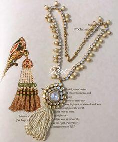Polki tassel necklace in open setting Tassel Jewelry, Pearl Jewelry, Jewelery, Tassel Earrings, Trendy Jewelry, Women Jewelry, Fashion Jewelry, Royal Jewelry, India Jewelry