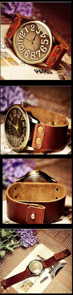 Stan vintage watches — Handmade vintage retro leather men's wrist watch (WAT0022)