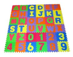 High Quality Educational Foam Puzzle Floor Mat Alphabet Letters  Numbers for Kids - Covers 36 sq ft (12 x 12 square blocks) - List price: $45.95 Price: $37.95 + Free Shipping