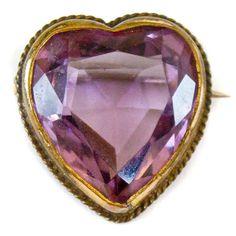 Antique Heart Brooch Amethyst