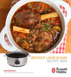 This lamb shank stew recipe is cooked slow and on low and produces a tender meat stew. Lamb Shank Stew Recipe from Grandmothers Kitchen. Lamb Shank Stew, Slow Cooked Lamb Shanks, Lamb Shank Recipe, Braised Lamb Shanks, Lamb Stew, Lamb Recipes, Paleo Recipes, Real Food Recipes, Meal Recipes