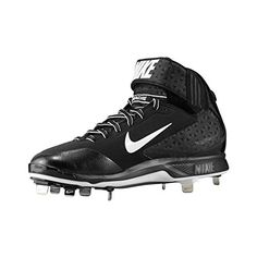 Nike Mens Huarache Pro Mid Metal Cleat - Black/White - 14 599235-001-14 Metal Cleats, Metal Baseball Cleats, Baseball Shoes, Girls Water Shoes, Water Sport Shoes, Softball Cleats, Volleyball Shoes, Basketball, Adidas Shoes Women