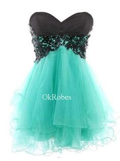Short Turquoise Prom Dresses Turquoise Ball Gown Prom by OkRobes, $97.00